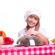 Attractive cook woman a over white background — Stok fotoğraf