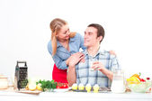 Wife gives her husband a meal — Foto Stock