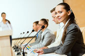 Grupo de empresarios en la presentación — Foto de Stock