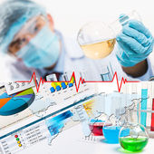 Collage with scientist in laboratory — Stock Photo