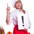 Attractive cook woman a over white background — Photo