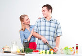 Couple of cooking together — 图库照片