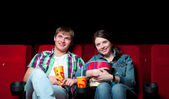 Couple in cinema — 图库照片