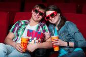 Couple in cinema — 图库照片