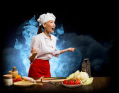 Asian woman furious cook, collage — Stock Photo