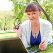 Portrait of a woman witha laptop — Stock Photo