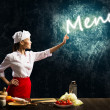Royalty-Free Stock Photo: Woman cook touch glowing word menu
