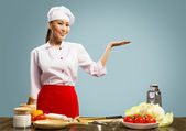 Asian female chef — Stock Photo