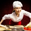 Portrait Asian woman cooks — Stock Photo