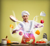 Magic in the kitchen — Stock Photo