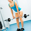 Young woman doing body-building in the Gym - Stock Photo