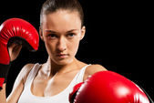 Portrait of a woman boxer — Stock Photo