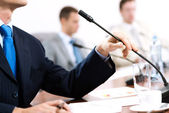 Businessman on the meeting — Stock Photo