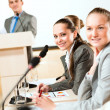 Businessmen communicate at conference — Stock Photo #21818471