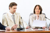 Senior business woman working with documents — Stock Photo