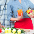 Couple of cooking together — Stock Photo