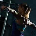 Female athlete dumbbell — Stock Photo #22179233