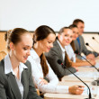 Businessmen communicate at conference — Stock Photo #22179261