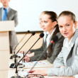 Businessmen communicate at conference — Stock Photo #22696133