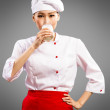 Asian cook drink milk — Stock Photo #23309706