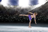 Performance of young skaters, ice show — Stock Photo