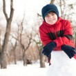 Portrait of a boy in a winter park — Stock Photo