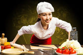 Retrato mujer asiática cocineros — Foto de Stock