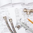 Постер, плакат: Plumbing and drawings construction still life