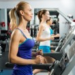 Royalty-Free Stock Photo: Young women running on a treadmill