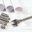 Plumbing and drawings, construction still life -  