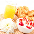 Royalty-Free Stock Photo: Breakfast with berries,orange juice and croissant
