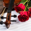 Violin, rose and music books - Stock Photo