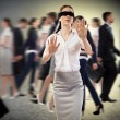 Young blindfolded woman — Stock Photo #25666803