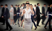 Young blindfolded woman — Stockfoto