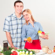 Couple of cooking together — Stock Photo #26133955