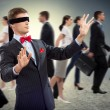 Young blindfolded man — Foto Stock