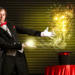 Magician causes the magic out of the hat — 图库照片