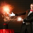 Magician causes the magic out of the hat — ストック写真