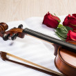 Royalty-Free Stock Photo: Violin, rose and music books