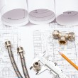Plumbing and drawings, construction still life — Foto Stock