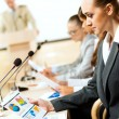 Businessmen communicate at the conference — Stock Photo #27184993