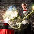 Magician causes the magic out of the hat — Foto de Stock