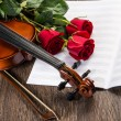 Violin, rose and music books — 图库照片