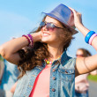 Stylish young woman in sunglasses — Stock Photo
