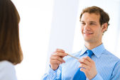Young businessman doing interviews — Stock Photo