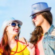 Two young girlfriends having fun — Stock Photo