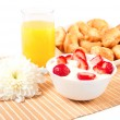 Breakfast with berries,orange juice and croissant — Stock Photo