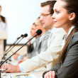 Businessmen communicate at the conference — Stock Photo