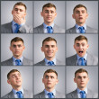 Collage of different photos of the young man — Stock Photo