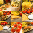 Pasta and cherry tomatoes, collage — Stock Photo #30729235
